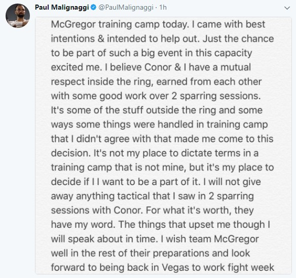 Paulie Comment on Conor McGregors Camp